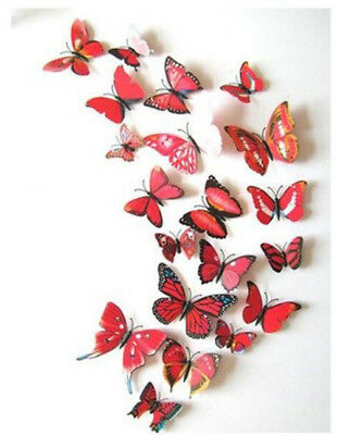 Red Butterfly 3D Hot Sale Wall Decals 12pcs 6big+6small PVC 3D Butterfly Wall