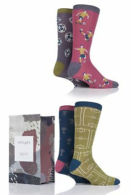 Mens 4 Pair Thought Soccer Bamboo and Organic Cotton Socks in Gift Box