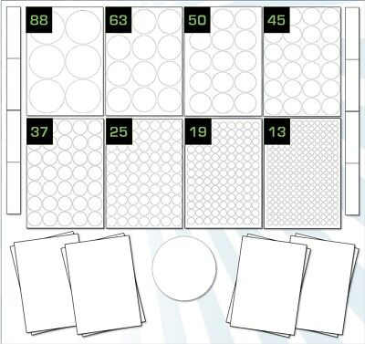 Round Permanent Labels, A4 Gloss Stickers, Laser High Gloss Printer Label sheets