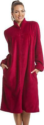 Camille Womens Ladies Soft Fleece Ruby Red Zip Front House Coat Dressing Gown
