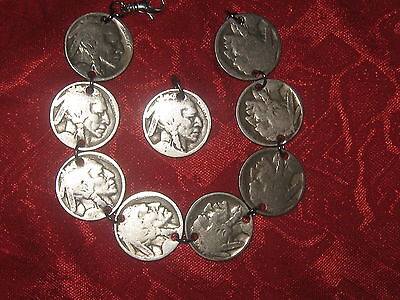 Authentic Antique Vintage Southwest Western Buffalo Nickel Coin Bracelet Set