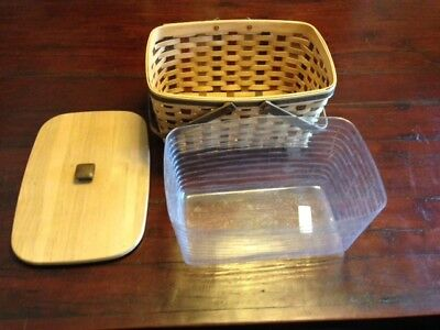 Longaberger Medium Market Basket WITH LID and PROTECTOR - NEW - RETIRED