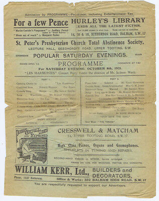 TOOTING St Peters Church Abstinence Society Entertainments Programme 1921