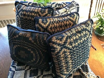 """3 / 19th century antique hand loomed linen & navy wool 5=14"""" pillows newly made"""