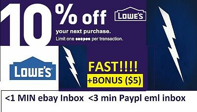 TWO 2x Lowes 10% OFF Coupons Discount - Lowe's In store/online +BONUS INFO ($5)
