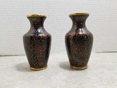 Vintage Chinese Miniature Cloisonne Vases (Pair) ~ 4 inches tall ~