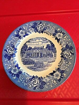 """Antique Wedgewood Monticello Plate Blue And White 10"""""""