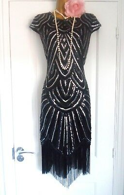 Vintage 1920s Flapper Charleston Sequin Beaded Fringe Tassel Dress Sz 14/16 XL