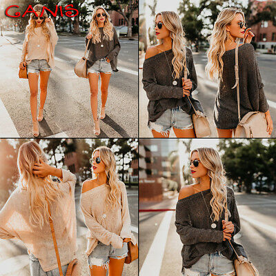 Womens Off Shoulder Baggy Ladies Tops Chunky Knitted Oversized Sweater Jumper US