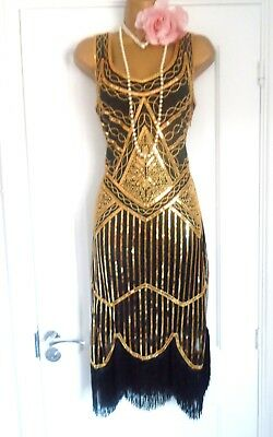 Vintage 1920s Flapper Charleston Sequin Beaded Fringe Tassel Dress Sz 12/14 L