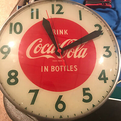 Rare  1950's Coca Cola Bubble Glass advertising Clock Sign excellent !!!