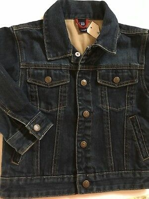 $45 Baby GAP Girls Dark Blue Jeans Jacket Stiched  Details size 4 NEW with Tags