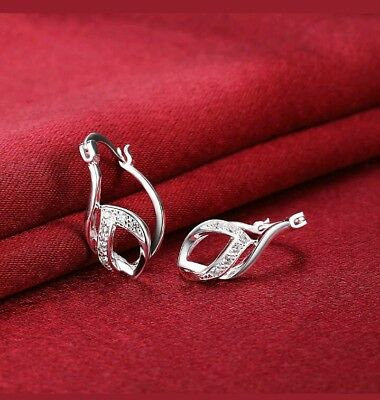 Womens 925 Sterling Silver CZ Crystal Vogue Hoop Fashion Pierced Earrings E13