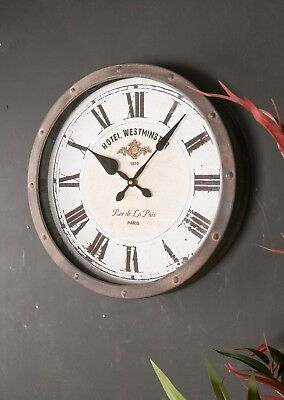 Hotel Westminster Paris Wall Clock Metal Studded Vintage Industrial Style France
