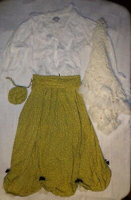 Pioneer Colonial Prairie Old West_Costume_Skirt_Blouse_Shawl_Sash_Purse_Calico_M