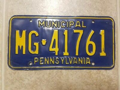 Pennsylvania Government License Plate City Town Municipal MG41761