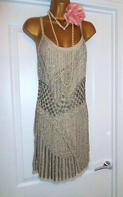 Zara Vintage 1920s Gatsby Flapper Charleston Beaded Sequin Dress Size 10/12 M