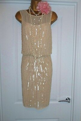River Island 1920s Style Gatsby Flapper Charleston Beaded Sequin Dress Size 12