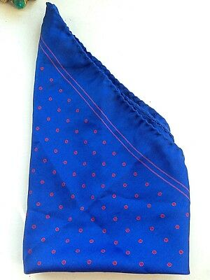 Menswear pocket square vintage 1980s blue silk with red polka dots / spots