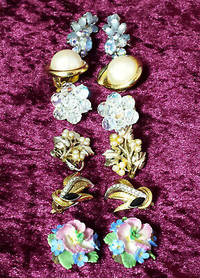 Job lot 6 pairs of pretty vintage clip-on earrings c.1950s to 1970s