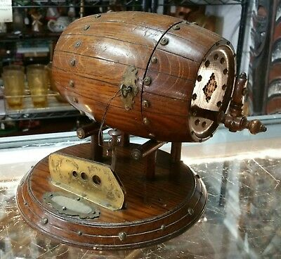 Late 19th Century Cuban Mahogany Barrel Form Humidor w/ Cigar Cutter and Striker