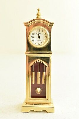 Vintage Elgin Brass Dollhouse Miniature Grandfather Clock Collectible Rare 4""