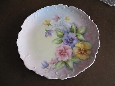 Vintage beautifully hand painted porcelain plate with Pansy Flowers, unmarked
