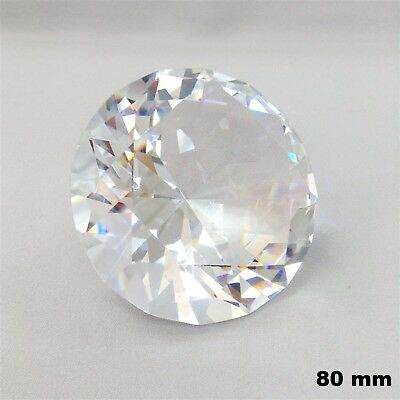 80mm Clear Diamond Cut Crystal Glass Paperweight Jewel Collectible Wedding Decor
