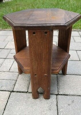 "Vintage Arts & Crafts Mission oak plant stand small side table 13 1/2"" tall"