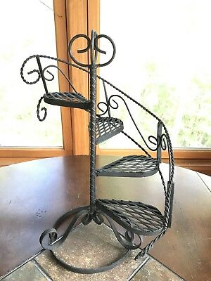 Vintage Wrought Iron Spiral Staircase plant stand Display Shelf Mid Century