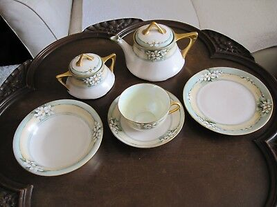 Antique Hand Painted/Gilded Art Nouveau Bavaria Porcelain 6 Piece Breakfast Set