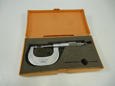 "Genuine Mitutoyo 122-125 BLM-1""V Outside Blade Micrometer 0-1"" w/ Case"
