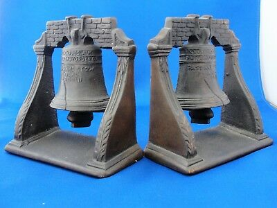 Vintage Cast Iron Liberty Bell Bookends - Bronze Or Copper Patina.