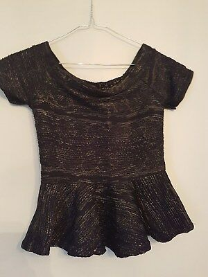 Ref 532- QUIZ Ladies Womens Girls Lovely Black & Gold Patterned Party Top Size 6