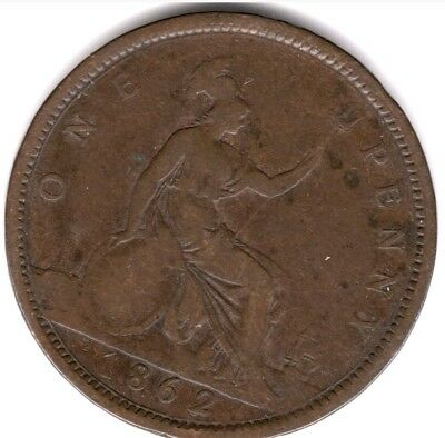 1862 Great Britain One Penny British Queen Victoria British Coin