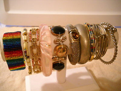Mixed Lot of 11 Vintage to Now Ladies Bracelets Rhinestones Cuff Clamper Bangle