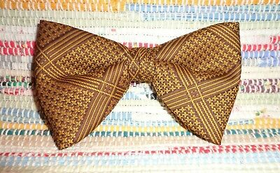 Vintage Retro Ormond Clip Brown & Gold Butterfly Bowtie Bow Tie_Nice & Groovy