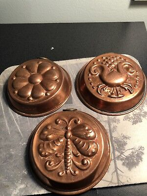 """3 vintage small copper pudding, cake molds 4x1"""" stamped sweden."""