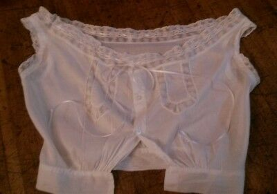 Vintage Early 1900's Cotton Lawn Lace Ribbon Camisole Corset Cover Underwear