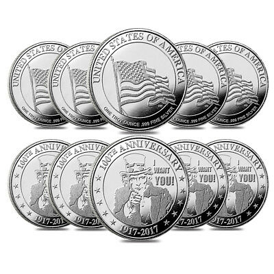 """Lot of 10 - 1 oz """"I Want You"""" Silver Round .999 Silver"""