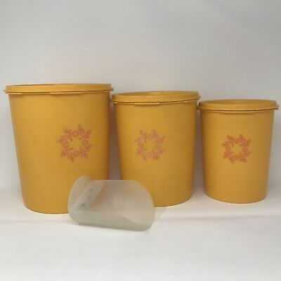 Set of 3 Yellow Servalier Tupperwear Canisters with Orange Flowers and Lids