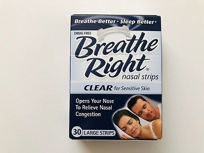 Breathe Right Nasal Strips Clear For Sensitive Skin 30 Large Clear Strips NEW
