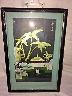 """Vintage Asian  Mother of Pearl Framed  Picture  Ship Shadow Box Palm   11.5x8"""""""