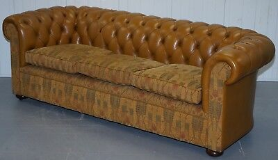 Rrp £5999 Liberty's London Leather & Fabric Chesterfield Sofa Fleming & Howland