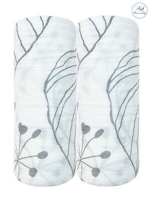 Set of 2 Kunininbaby Gray Autumn Muslin Baby Swaddle Blankets-47inx47in