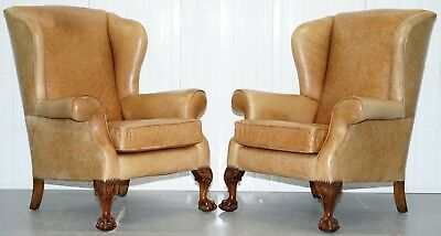 Pair Of Victorian Walnut Claw & Ball Feet Aged Heritage Brown Leather Armchairs