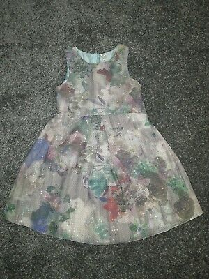 Girls NEXT Floral Party Dress with Rose Gold Metallic fleck - Aged 6 Years