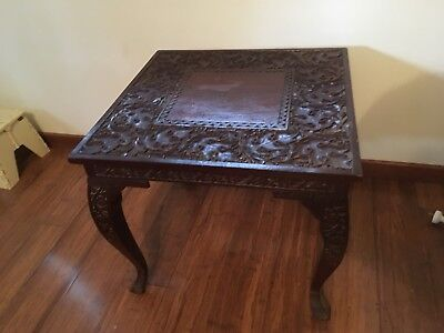 COFFEE TABLE- Antique Timber Carved Leg Side Table, Asian, Chinese, Wooden