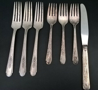 1935 Antique Crosby Silver Plate Lot of 7 Pieces Forks and Butter Knife USED