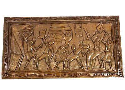"""African War Rustic Hand Carved Wooden Picture Scene Large 30"""""""